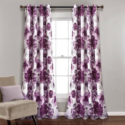 Set of 2 Leah Grommet Top Room Darkening Curtain Panels - Lush Décor