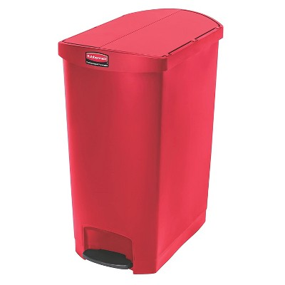 Rubbermaid Slim Jim 24 Gallon Resin Plastic Front Step On Waste Basket Garbage Trash Can Recycle Bin for Kitchen Bathroom Bedroom, Red