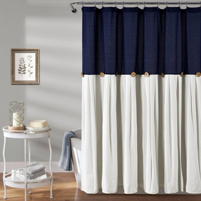 Linen Button Shower Curtain Navy - Lush Décor