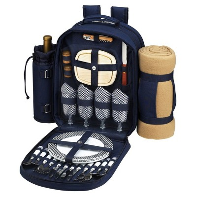 Picnic at Ascot - Deluxe Equipped 4 Person Picnic Backpack with Cooler, Insulated Wine Holder & Blanket