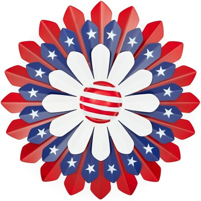 Okuna Outpost Metal American Flag Floral Wall Decor for 4th of July Outdoors Patio Patriotic Decor 13.5 in