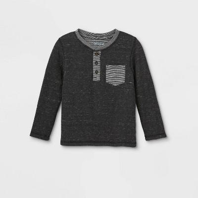Toddler Boys' Double Knit Henley Long Sleeve T-Shirt - Cat & Jack™ Black 18M