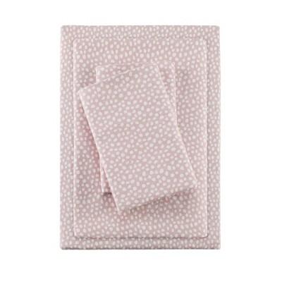 Full Printed Cotton Flannel Sheet Set Blush Dots
