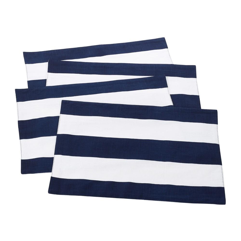 "Image of ""4pk Navy Blue Saint John Striped Design Placemat 14""""x20"""" - Saro Lifestyle"""