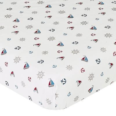 Sweet Jojo Designs Nautical Nights Fitted Crib Sheet - Print