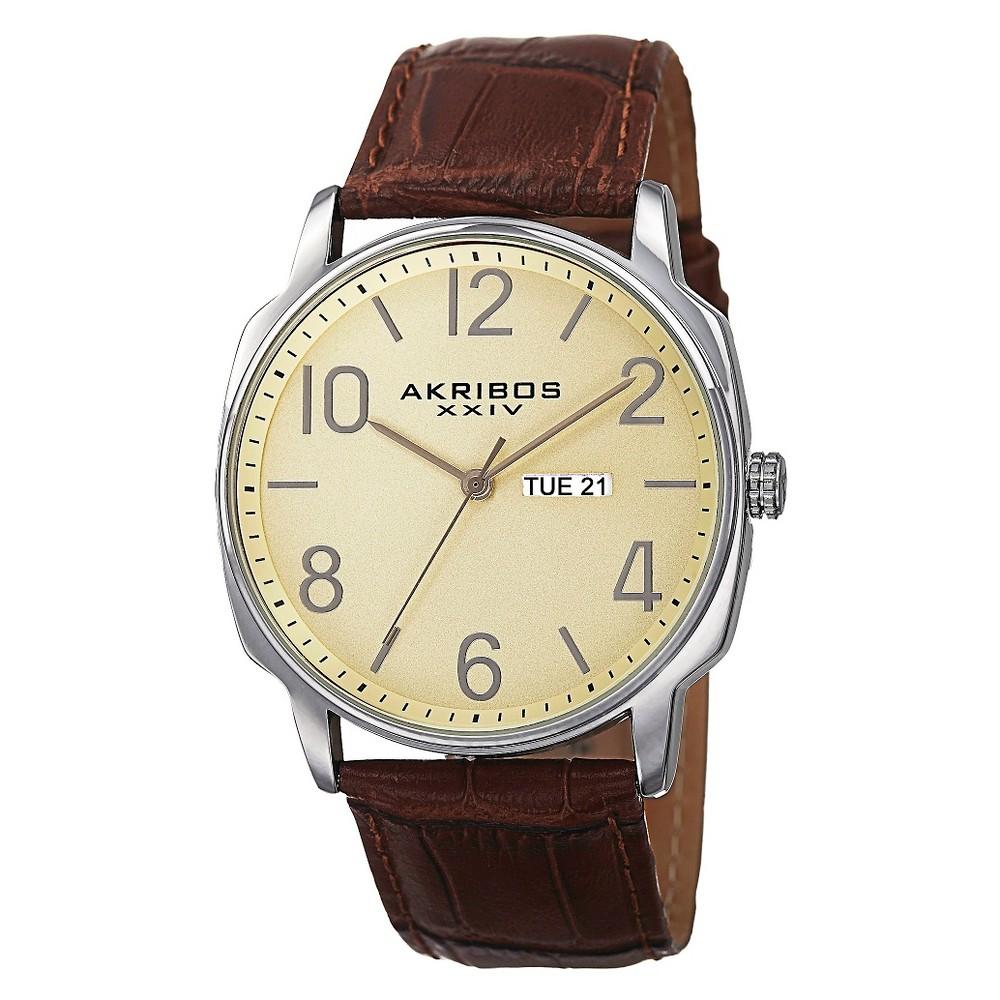 Men's Akribos Xxiv Quartz Genuine Leather Strap Watch - Brown