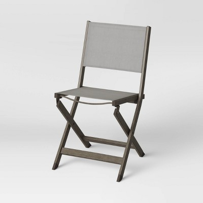 Weathered Teak Folding Patio Bistro Chair - Threshold™
