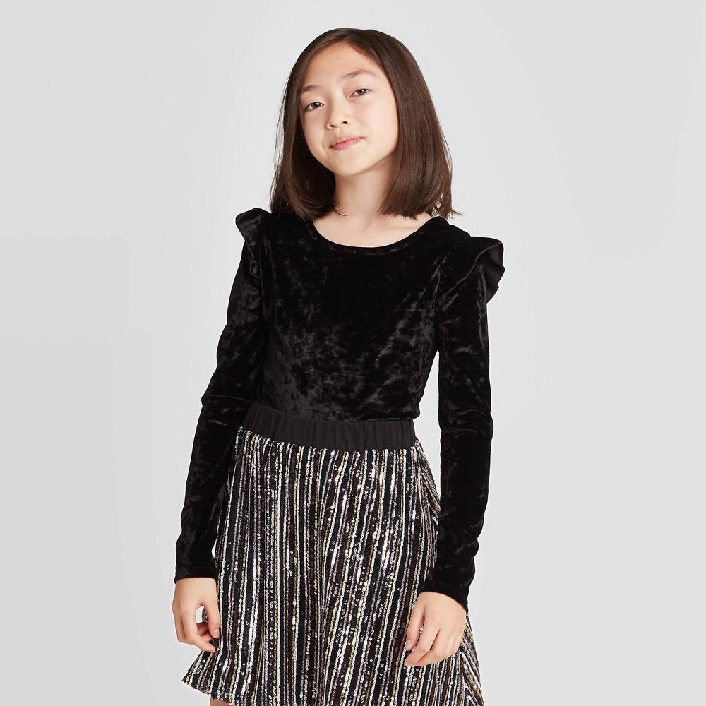 Image of Girls' Ruffle Bodysuit - art class Black L, Girl's, Size: Large