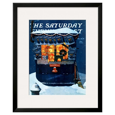 "Art.com ""Newsstand in the Snow"" -Framed Print - image 1 of 2"