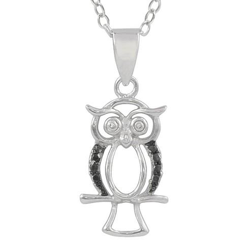 1/10 CT. T.W. Round-Cut Diamond Pave-Set Owl Necklace in Sterling Silver - Black - image 1 of 2
