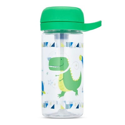 Cheeky Plastic Kids Bottle With Straw 17oz Space Dinosaur - Green