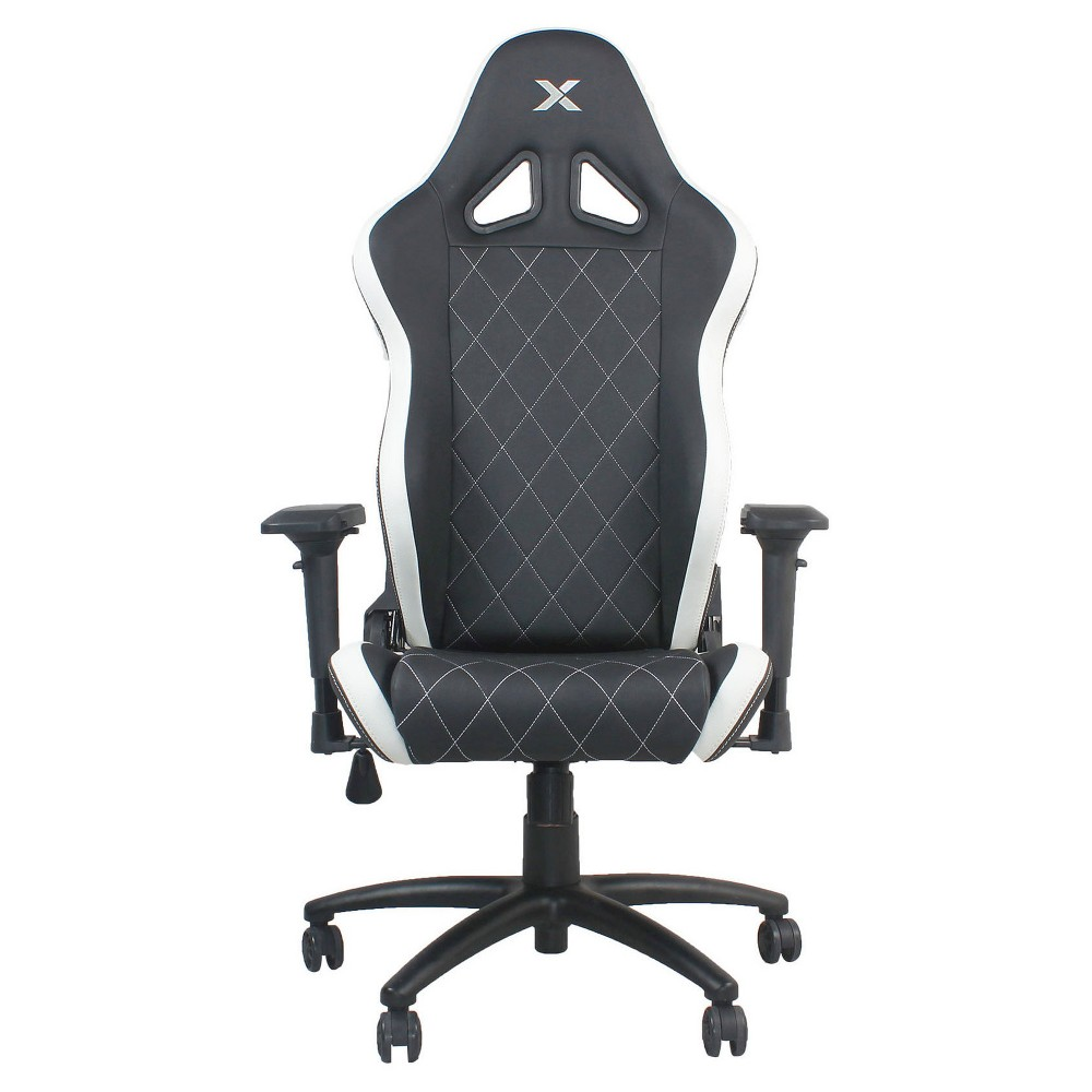 Ferrino Line White on Black Diamond Patterned Gaming and Lifestyle Chair by RapidX, Black/White