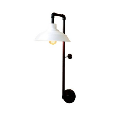 Round Metal Wall Sconce with Shade Wall Light Black - 3R Studios