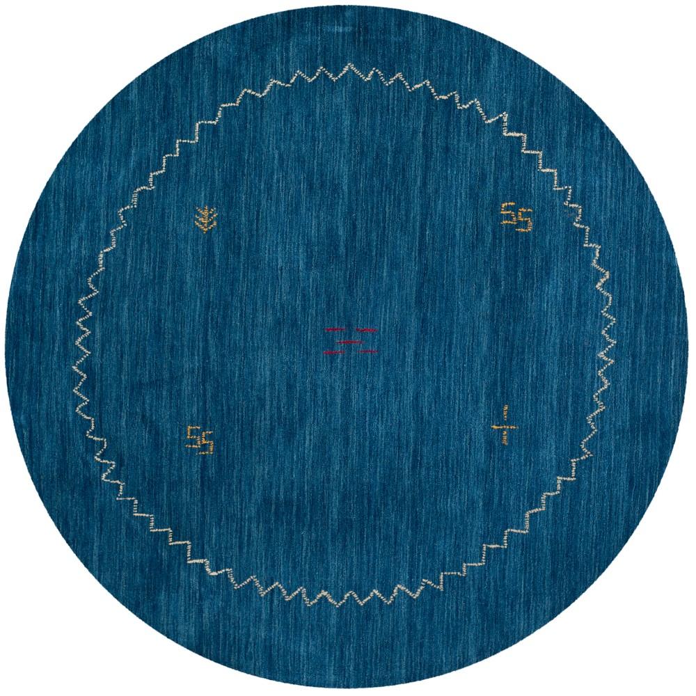 6' Tribal Design Loomed Round Area Rug Blue - Safavieh