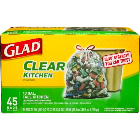 Glad Recycling Tall Drawstring Kitchen Clear Trash Bags 45ct