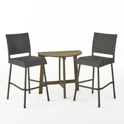 Meadow 3pc Wood & Wicker Half Round Bistro Set - Gray - Christopher Knight Home