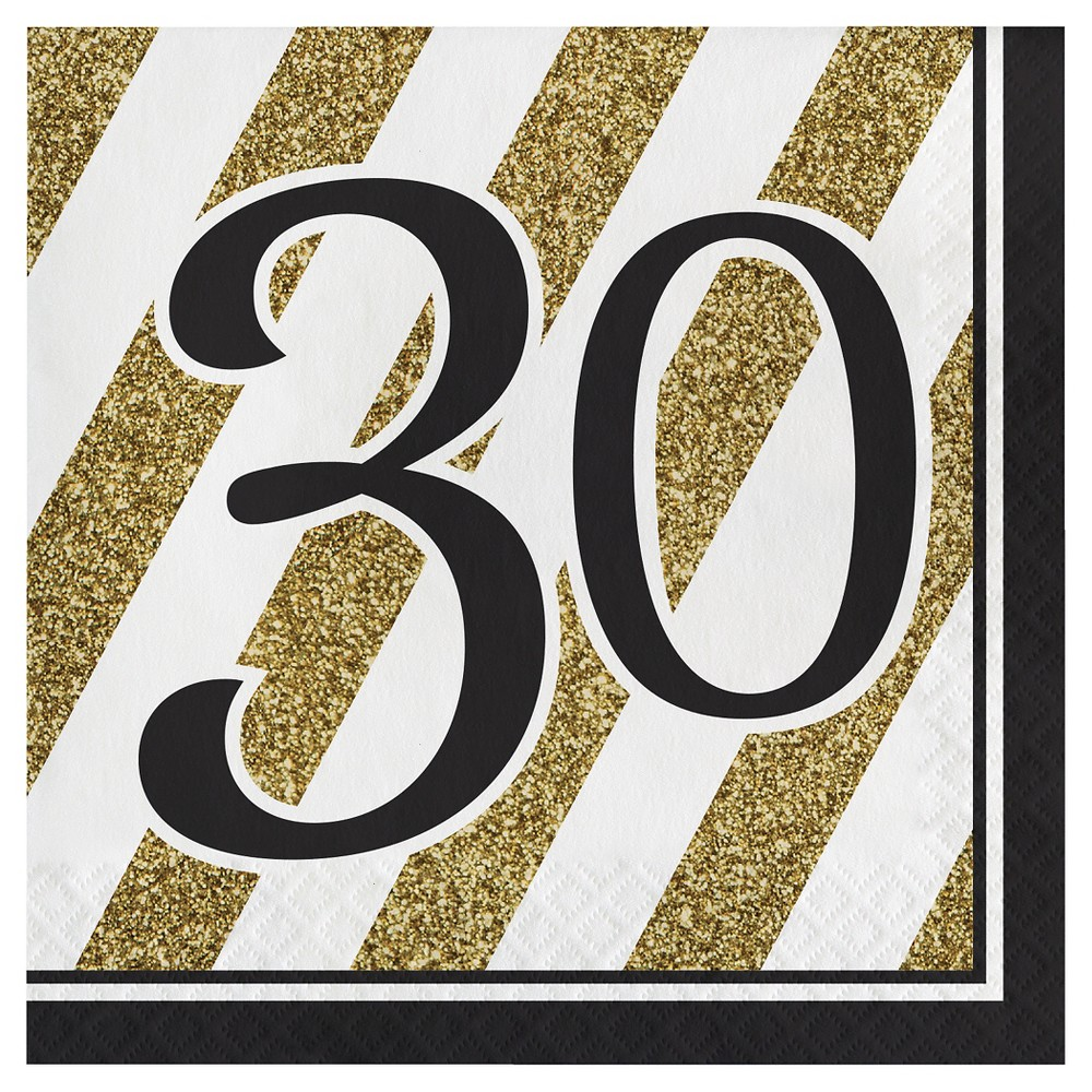 Image of 16ct Black & Gold 30th Birthday Napkins