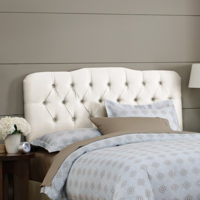 Seville Faux Silk Upholstered Headboard - Shantung Parchment - Full - Skyline Furniture