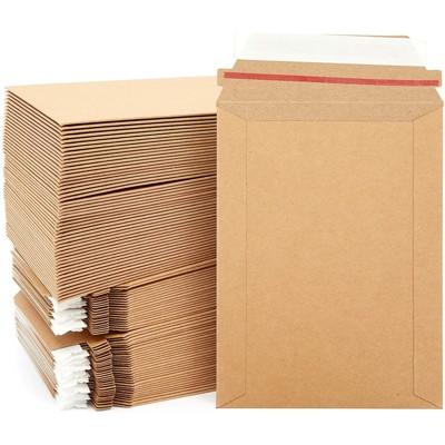Juvale 100 Pack Rigid Brown Mailing Envelopes, Kraft Paper Stay Flat Self-Seal Mailers (6x8 In)