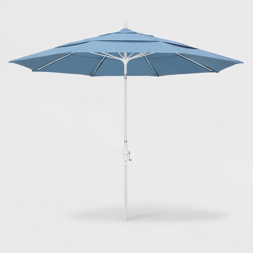 11' Sun Master Patio Umbrella Collar Tilt Crank Lift - Sunbrella Air Blue - California Umbrella