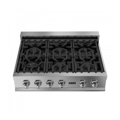 ZLINE RT36 36-Inch Porcelain Rangetop with 6 Gas Cooktop Italian Burners with Cast Iron Grill Stovetop, Stainless Steel