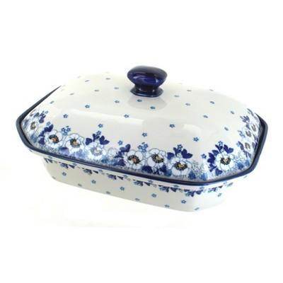 Blue Rose Polish Pottery Georgia Blue Large Covered Baking Dish
