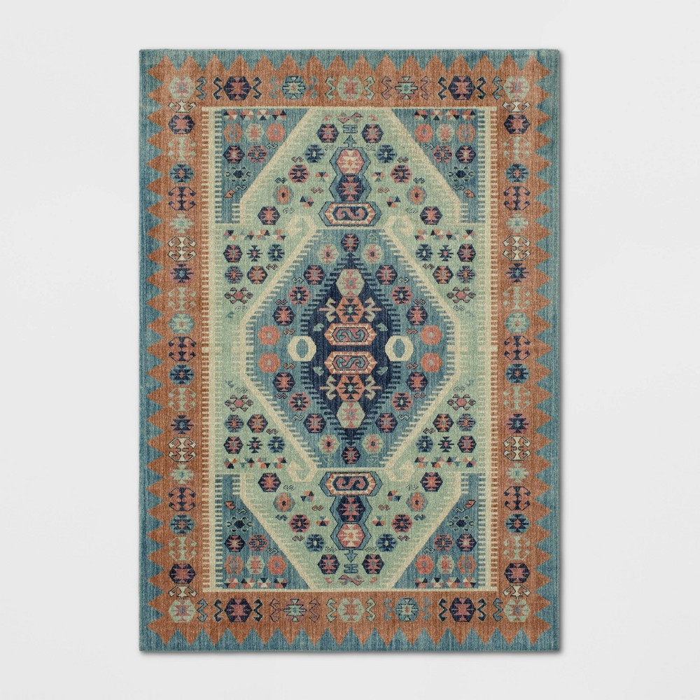 Buttercup Diamond Vintage Persian Woven Rug Blue