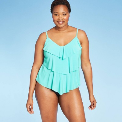 Women's Tiered Tankini Top - Aqua Green® Light Blue L