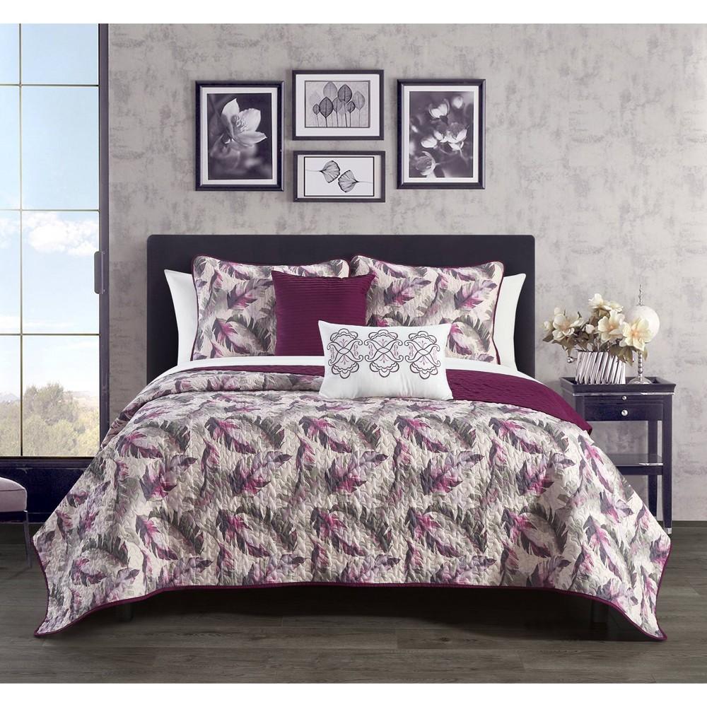 Twin 4pc Serra Quilt Set Purple Chic Home Design