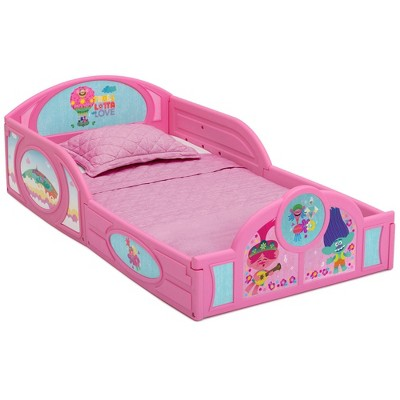 Toddler Trolls World Tour Plastic Sleep and Play Bed  with Attached Guardrails - Delta Children