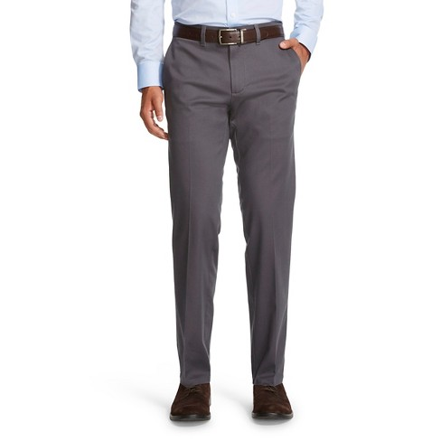 Haggar H26 - Men's Tall No Iron Stretch Straight Fit Pants Dark Grey 38x36 - image 1 of 2