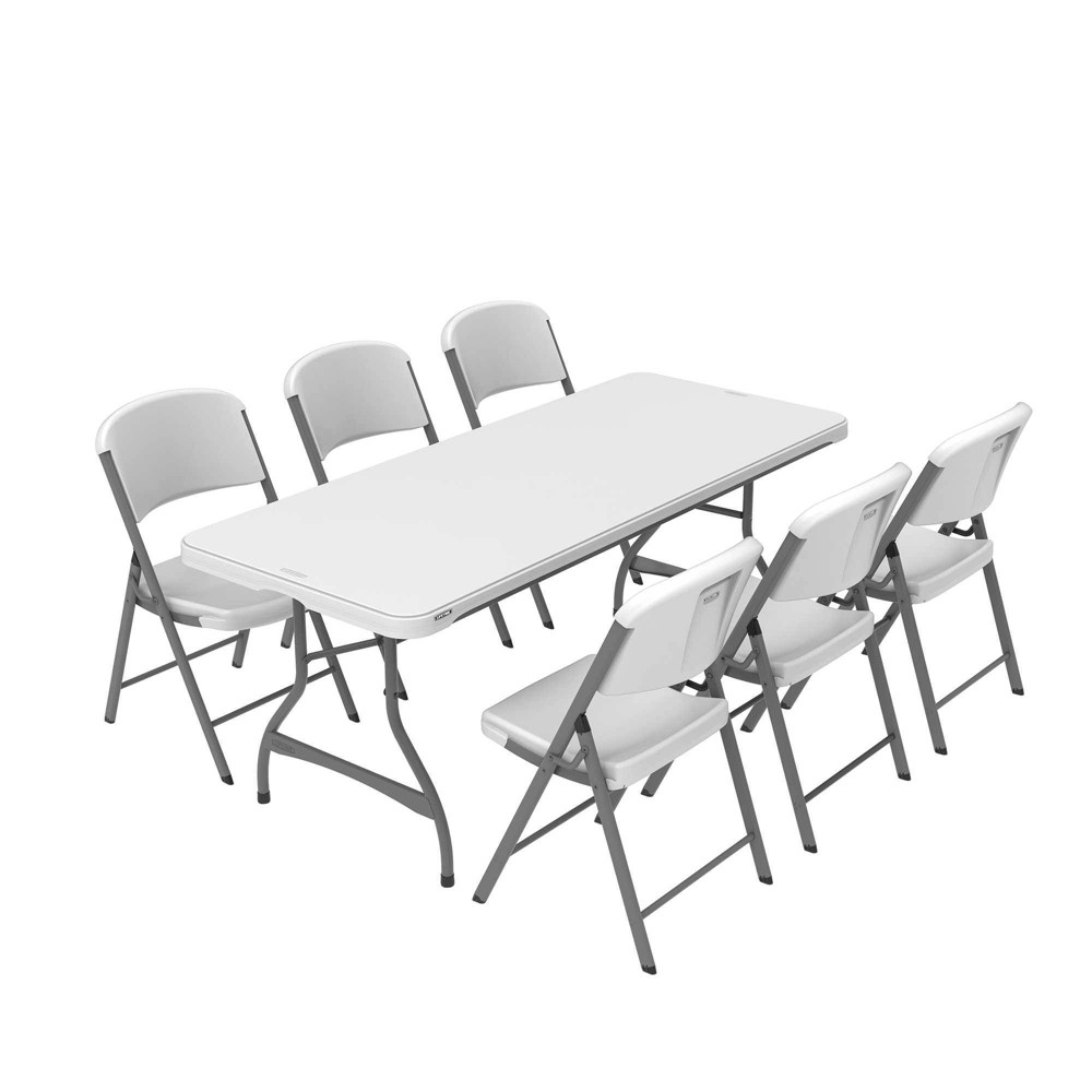 Image of Folding Table with 6 Chairs White - Lifetime