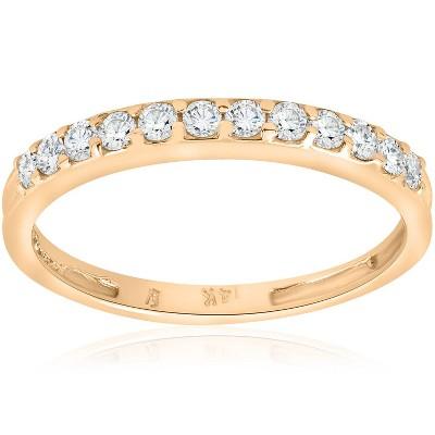 Pompeii3 1/2ct Diamond Wedding Ring 14K Yellow Gold Womens Stackable Band Jewelry Round
