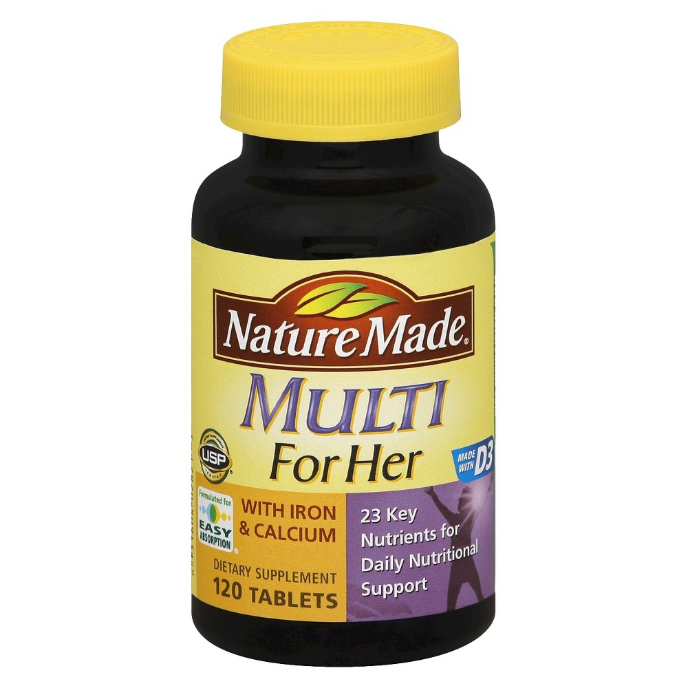 Nature Made Women's Multivitamin w/ Iron & Calcium Dietary Supplement Tablets - 120ct Formulated for easy absorption, Nature Made Multivitamin For Her with Iron and Calcium Tablets offers an easy and quick way to get key nutrients every day. This women's multivitamin includes folic acid, vitamin D and calcium. Size: 120. Gender: Female. Age Group: Adult.