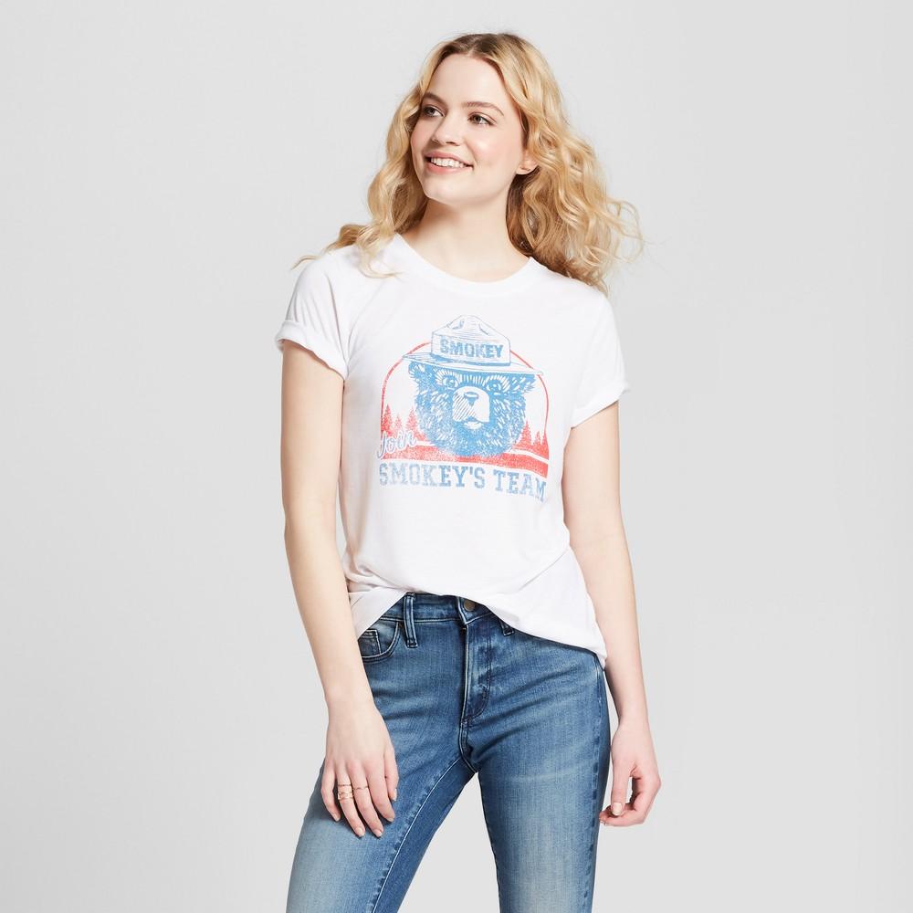 Women's Smokey the Bear Smokey's Team Short Sleeve Graphic T-Shirt (Juniors') White XL