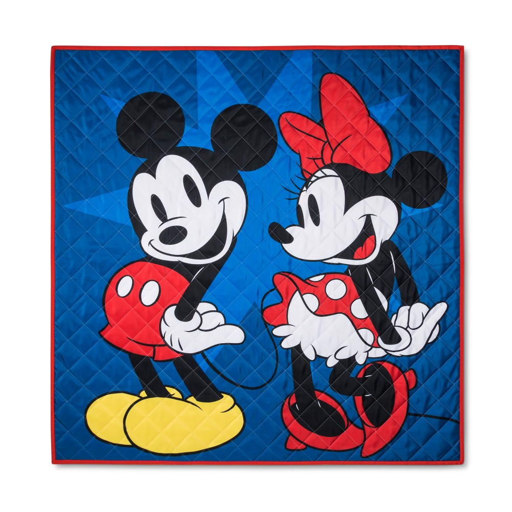 Disney Mickey Mouse & Friends Iconic Mickey Mouse And Minnie Mouse Picnic Blanket, Blue