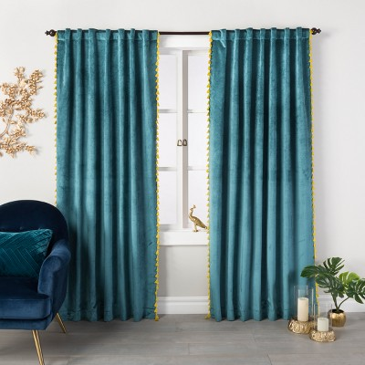 "108""x54"" Velvet Curtain Panel with Yellow Tassels Teal Green - Opalhouse™"