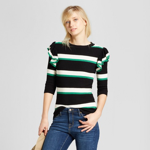 Women's Striped 3/4 Sleeve Shoulder Frill Crew - Who What Wear™ - image 1 of 3