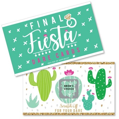 Big Dot of Happiness Final Fiesta - Last Fiesta Bachelorette Party Game Scratch Off Dare Cards - 22 Count