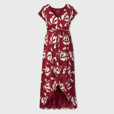 Floral Print Short Sleeve Knit Wrap Maternity Dress - Isabel Maternity by Ingrid & Isabel™ Red
