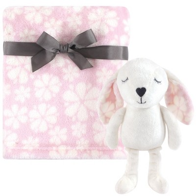 Hudson Baby Infant Girl Plush Blanket with Toy, Modern Bunny, One Size