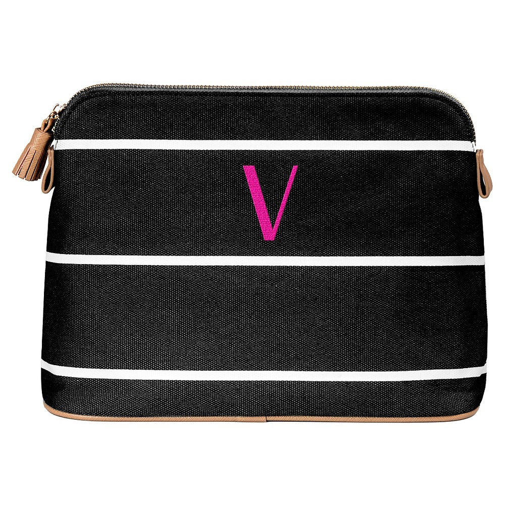 Cathy's Concepts Personalized Striped Cosmetic Bag - Black - V