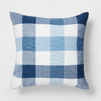 Checked Square Throw Pillow Blue/White - Threshold™