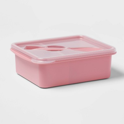 Plastic Bento Box with Utensil Coral Dream - Room Essentials™