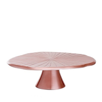 """Old Dutch 14.5"""" Metal Lily Pad Cake Stand Rose Gold"""