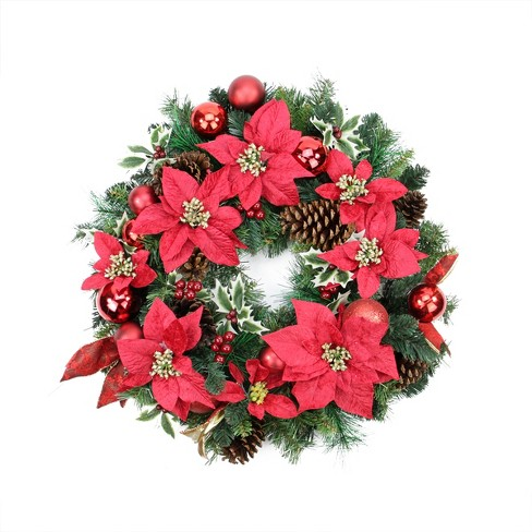 """Northlight 24"""" Unlit Red Poinsettia, Pine Cone and Ball Artificial Christmas Wreath - image 1 of 1"""