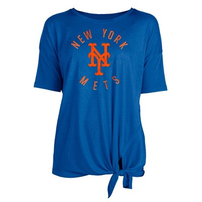 MLB New York Mets Women's Poly Rayon Front Knot T-Shirt