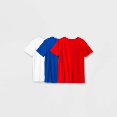 Boys' 3pk Short Sleeve T-Shirt - Cat & Jack™ Red/White/Blue