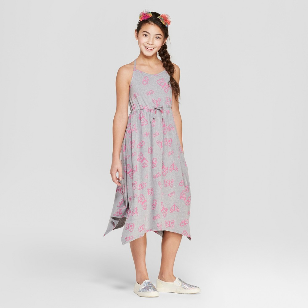Girls' Butterfly Print Knit Maxi Dress - Cat & Jack Gray XS