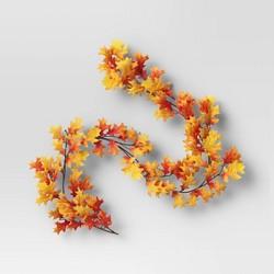 "72"" Artificial Oak Leaf Garland Orange - Threshold™"